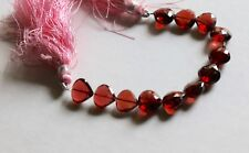 """4"""" Strand Faceted Red Beads Heart Briolettes, Straight Drilled 7-9mm"""
