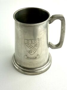 Vintage Lunt Silversmiths Pewter Beer Stein With A Glass Bottom Made in Ireland