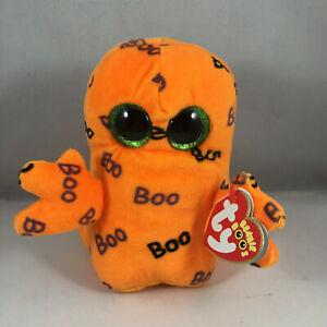 "TY Halloween Beanie Boos 6"" GHOULIE Orange Ghost Plush Stuffed Animal Toy MWMTs"