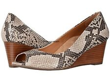 VIONIC 'PROUD BRIA' Natural Snake Leather Peep-Toe Wedge  Sz. 6.5 MEDIUM  NIB