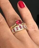 925 Sterling Silver Handmade Gemstone Turkish Ruby Ladies Ring 6-10
