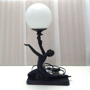 Vintage Art Deco Style Heavy Table Lamp Nude Lady Holding Globe Bulb Untested