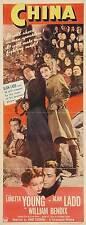 CHINA Movie POSTER 14x36 Insert Loretta Young Alan Ladd William Bendix Philip