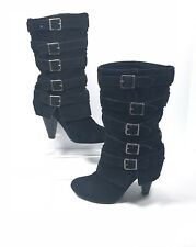1edd3edb1d7f MIA Women s Royal Black Suede Leather Pull On Buckle Boots Size 7.5 M