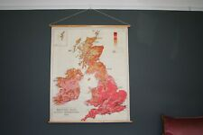 Vintage School Wall Map, British Isles - Actual Temperature: July - 1956