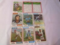 1974 TOPPS BASEBALL LOT OF 9, BAYLOR CARDS CHECKLIST, TIGERS CHECKLIST,  G1308