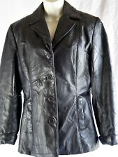 Milan Women M Size Patchwork Leather Coat Dark Brown