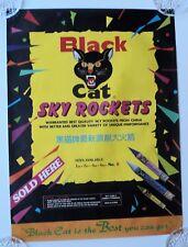 BLACK CAT FIREWORKS - SKY ROCKETS 1970's ORIGINAL POSTER EX CONDITION VERY RARE