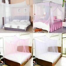 4 Corner Post Square Bed Canopy Mosquito Net Netting Home Full Queen King Size