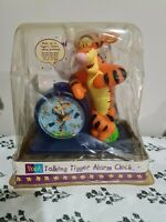 "Vintage Tigger Talking Alarm Clock Disney Fantasma 8.5"" Winnie The Pooh Sealed"
