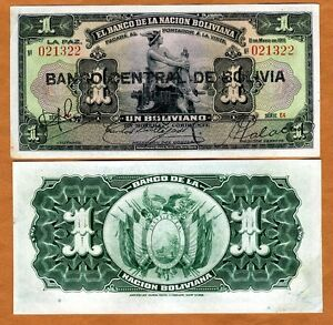 Bolivia,  1 bolivano, 1911 (1929), P-112, XF+  > Black Overprint, Hand Signed