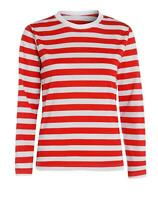 Red And White Stripe T-Shirt Mens Full Sleeve Top Book Week Fancy Dress Outfit