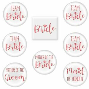 8 Team Bride Hen Party Badges | Pink Night Do Accessories Bag Fillers Pin Set