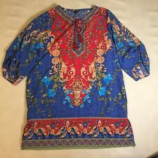 NLW Large Silky Shift Boho Tunic Dress Blue Red Orange Green Floral Geometric