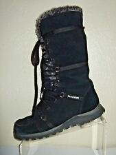 SKECHERS Black Suede Zip & Lace Up Calf High Boots W/Thinsulate Women's Size 7