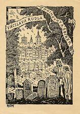 OLD CEMETERY, Vintage Ex libris Bookplate by Jan Konupek, 1925