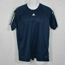 Men's Adidas Navy Blue Short Sleeve Training Athletic Shirt Workout Sz L