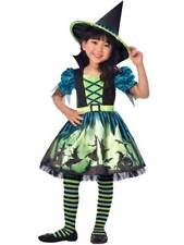 Girls Hocus Pocus Green Witch Costume Childs Halloween Magic Fancy Dress 3-8 Yrs