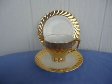 vintage 22ct gold classic china trio cup & saucer plate set