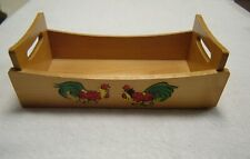 Vintage Wood ROOSTERS Kitchen FARMHOUSE Table CADDY Tray