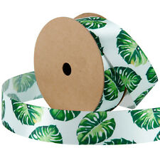 2 meter of 25mm Wide Summer Printed Satin Wrapping Ribbon Monstera Leaf LB2503