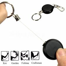 2 X BADGE REEL RETRACTABLE RECOIL YOYO ID CARD HOLDER KEYCHAIN STEEL CORD NEW