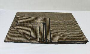 Indian Black Gold Striped Line Printed Dressmaking Fabric Curtain Fabric 5 Yard