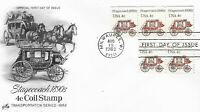 U.S. 1982 STAGECOACH 1890's 4c #19 2 Coil strips of 5 on an ArtCraft FDC Cachet