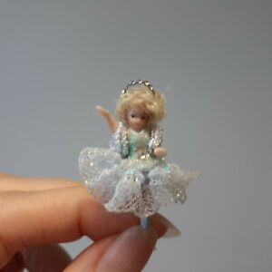 "439 Dollhouse miniature porcelain doll in blue ballerina dress w tiara, 1 1/4"""