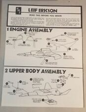 VINTAGE INSTRUCTIONS FOR MYSTERY SHIP LEIF ERICSON AMT TOYS   77A