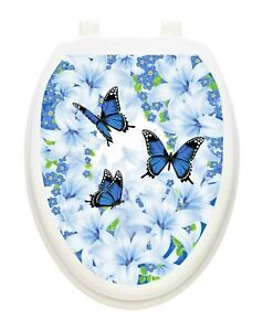 Toilet Tattoos Vinyl Art for your Toilet Lid Lily Blues Butterflies  Hygienic