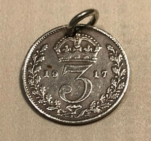 Antique Silver 3d Threepence COIN CHARM 1917 for BRACELET, FOB or NECKLACE