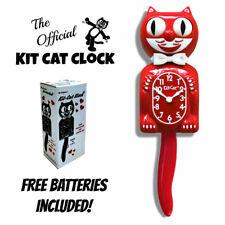 """Rojo Escarlata Kit Gato Reloj 15.5"""" Gratis Batería Hecho En Eeuu Nuevo Kit-Cat"""