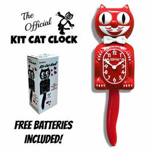 "SCARLET RED KIT CAT CLOCK 15.5"" Free Battery MADE IN USA New Kit-Cat Klock"