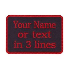 Rectangular 3 Line Custom Embroidered Biker SEW ON  Name Tag PATCH (BRRB)