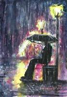 Rain umbrella night lights city landscape original painting ACEO acrylic signed