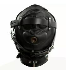 REAL LEATHER SENSORY DEPRIVATION GAY BONDAGE INTEREST HOOD / MASK !