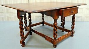 GORGEOUS THEODORE ALEXANDER GATE LEGS/DROP LEAF TABLE WITH BROWN LEATHER TOP