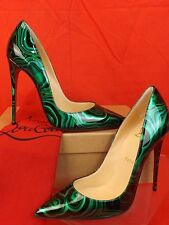 NIB LOUBOUTIN SO KATE 120 GREEN MALACHITE PATENT LEATHER CLASSIC PUMPS 38