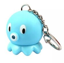 Octopus Blue Keychain LED Light Up With Sound 5cm US Seller