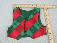 "Doll Clothing Holiday Red & Green Christmas Vest for 18"" to 23"" tall Doll"