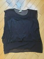 NWT ZARA black layered shirt top size S, made in Portugal
