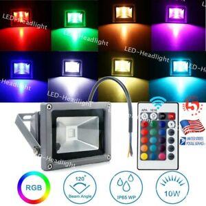 10W 110V RGB LED Flood Light Outdoor Landscape Security Lamp W/IR Remote Control