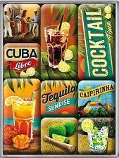 Cuba Libre Tequila Cocktail Nostalgie Kühlschrank Magnet-Set 9-tlg TinSign MAG57
