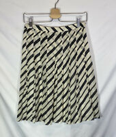 Banana Republic Women's Cream Black Striped Pleated Silk Blend Skirt Size 0