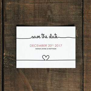 Personalised Scribble Wedding Save the Date or Evening - Heart Modern 30 50 100
