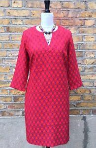 BODEN Red Dress With Geometric Leaf Design UK 14 EU 40 US 10