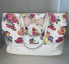 Betsy Johnson Womens Floral White Purse Pink Bow Large Purse Tote Shopping Bag