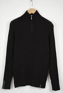 TRUSSARDI SPORT Men ~LARGE Wool Blend Half Zip Elastic Ribbing Sweater 33180_GS