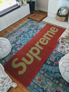 """Supreme Woven Straw Mat, Yellow/Red 27"""" x 77"""" 100% Authentic"""